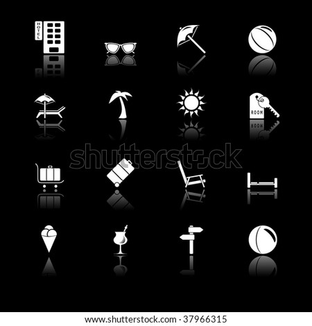 Travel icons - black series - stock vector