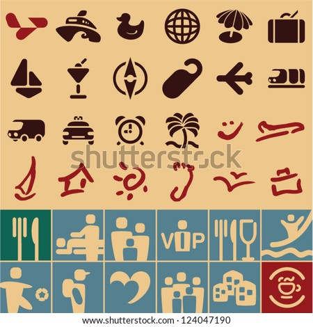 Travel icons collection. Retro vintage style set. - stock vector