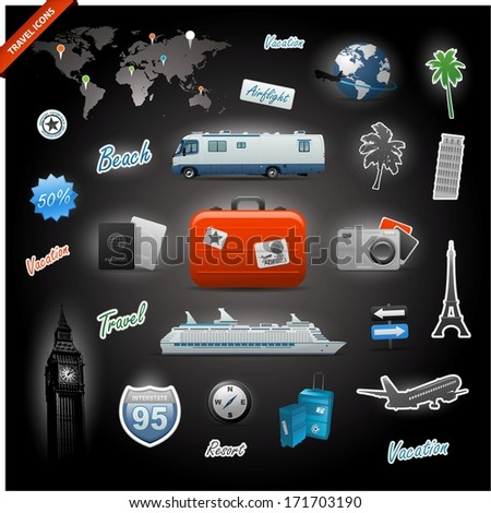 Travel icons elements set collection eps 10 - stock vector