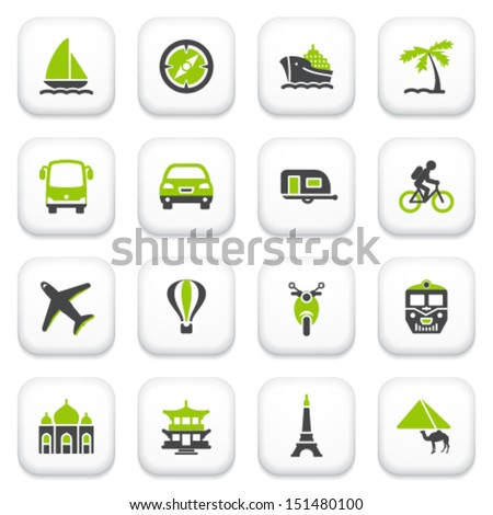 Travel icons. Green gray series. - stock vector
