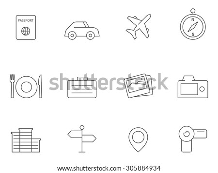 Travel icons in thin outlines. Journey, recreation.. - stock vector