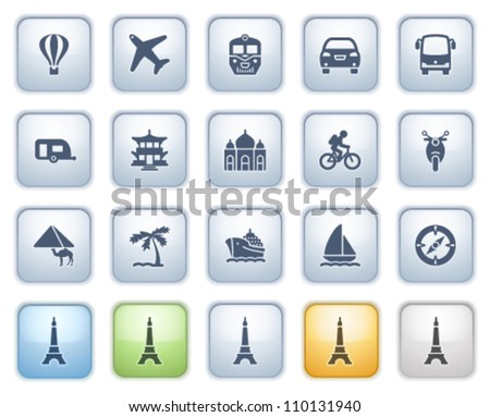Travel icons on buttons. Color series. - stock vector