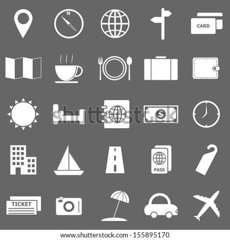 Travel icons on gray background, stock vector - stock vector