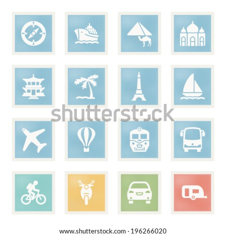 Travel icons on paper. - stock vector