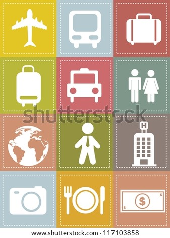travel icons over beige background, vintage style. vector illustration - stock vector