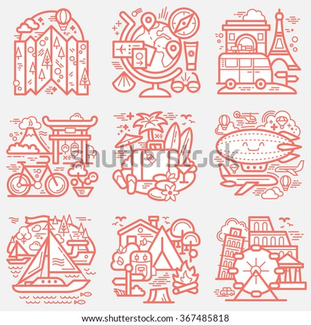 Travel icons set. Detailed vector illustration.
