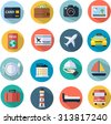 Travel Icons Set flat design - stock vector