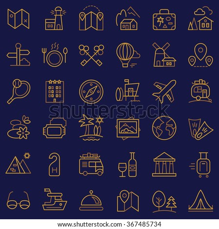Travel icons set for web and mobile app. Vector.