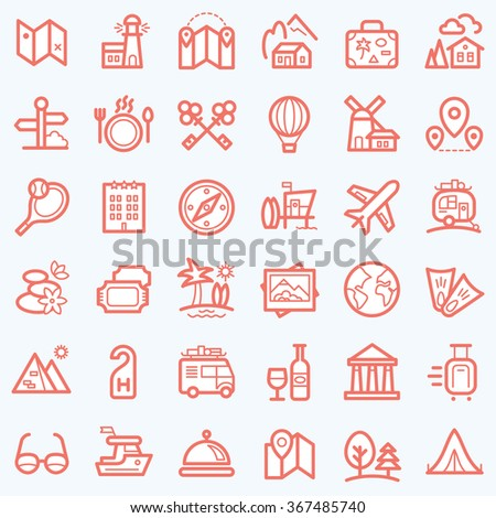 Travel icons set for web and mobile app. Vector. - stock vector