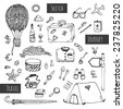 Travel icons set. Hand drawn sketch illustration isolated on white background. Vector - stock