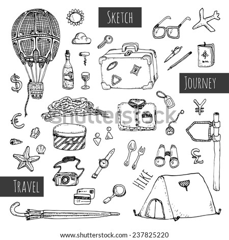 Travel icons set. Hand drawn sketch illustration isolated on white background. Vector - stock vector