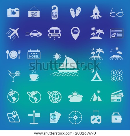 Travel icons set.On Blur Background - stock vector
