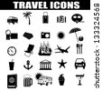 Travel icons set on white background, vector illustration - stock vector
