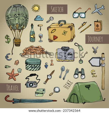 Travel icons set. Retro style. Colorful hand drawn sketch. Vector illustration - stock vector