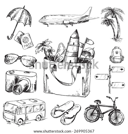 Travel icons set. Sketch converted to vectors.