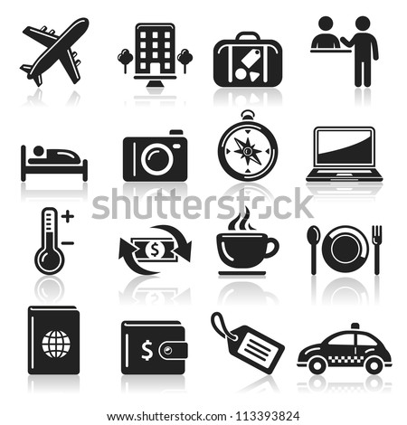 travel icons set1. vector eps 10 - stock vector