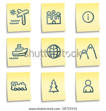 Travel icons set 1, yellow notes series - stock vector