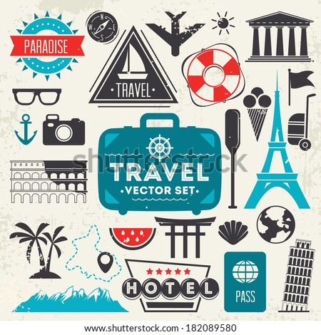 Travel icons.Vector - stock vector