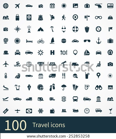 travel Icons Vector set. travel Icons Symbol set. travel Icons Picture set. travel Icon Image set. travel Icons Shape set. travel Icons Sign set 100 travel icons set, on white background  - stock vector
