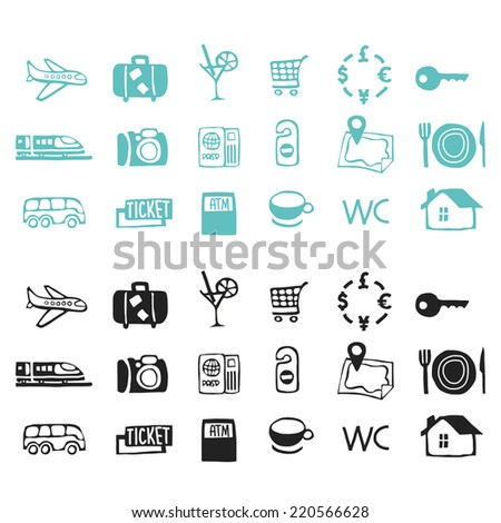 Travel icons vector sketch set - stock vector