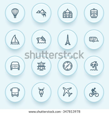 Travel icons with buttons on blue background.