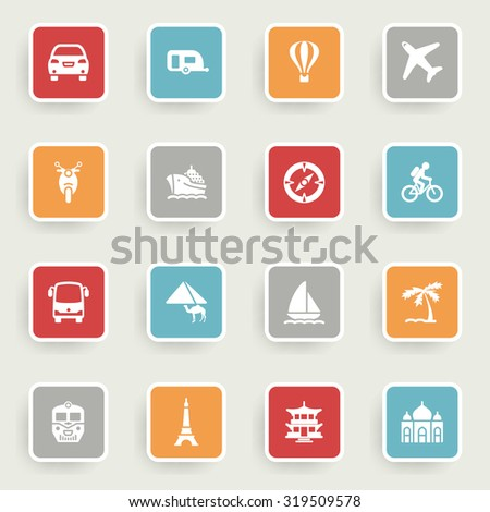 Travel icons with color buttons on gray background.