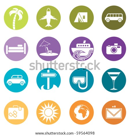 Travel icons with transport and rest attributes - stock vector