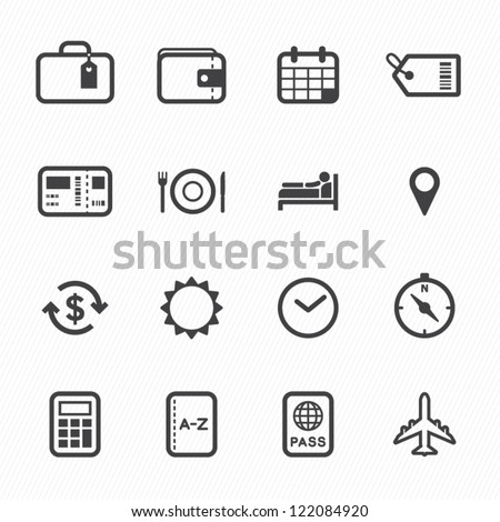 Travel Icons with White Background - stock vector