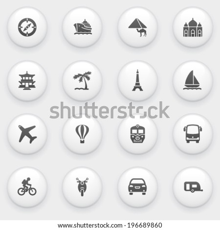 Travel icons with white buttons on gray background. - stock vector