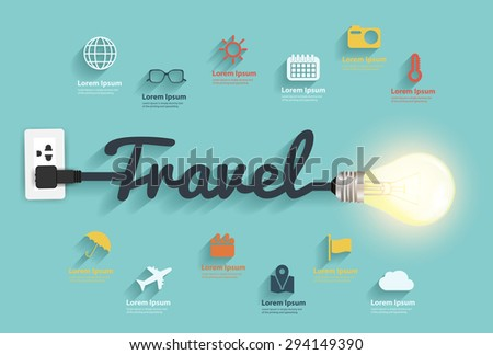 Travel ideas concept, Creative light bulb design abstract infographic layout, flat style icons set, diagram, step up options banner, Vector illustration graphic modern template - stock vector