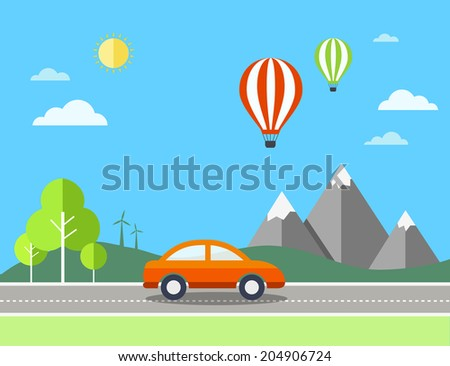 Travel illustration with landscape. Eps10 - stock vector