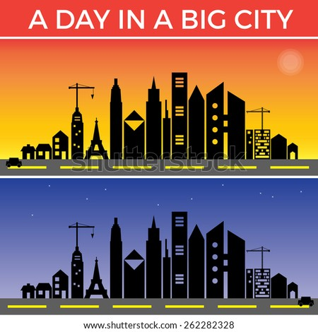Travel in a Big City all day and night, Background - stock vector