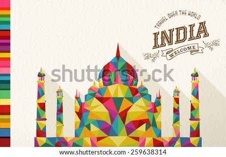 Travel India famous landmark. Colorful polygonal monument with vintage label and textured paper background. Ideal for website, brochure or marketing campaign. EPS10 vector file. - stock vector