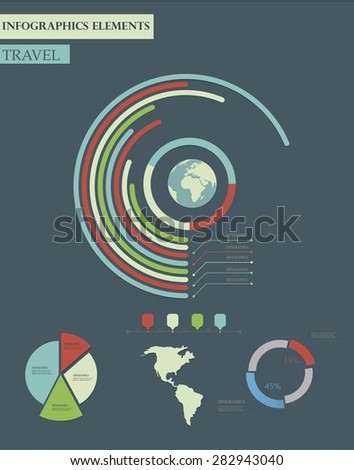 Travel info graphics with data icons and elements - stock vector