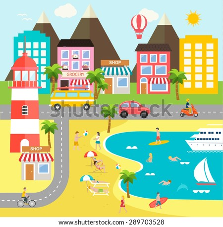 Travel infographic design elements. Sea resort landscape infographics elements with people swimming and surfing tanning in the sun, playing beach ball on sand, cycling, vector illustration - stock vector