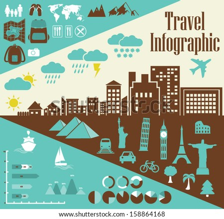 Travel Infographic Elements - City landmarks, Transportation, Weather, Graphs and lots more - stock vector
