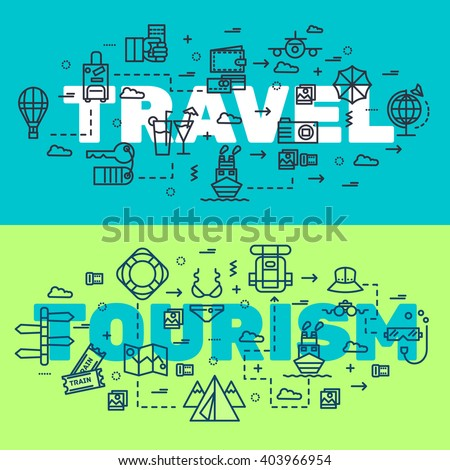 Travel infographic icons items design. Vacation rest with any elements set. Tour, trip, journey outline illustrations vector background. Tourist image on thin line style concept - stock vector