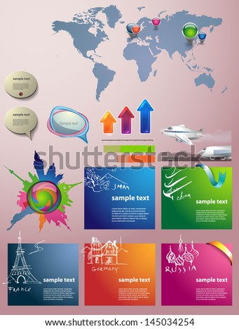Travel Infographic set. Vector illustration.