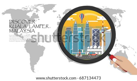 Travel infographic welcome kuala lumpur malaysia stock vector travel infographic welcome to kuala lumpur malaysia infographic world map with magnifying glass gumiabroncs Images