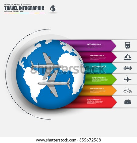 Travel infographic with vector world map. Can be used for cycle diagram, graph, presentation and round chart, website airline. Business concept with 6 options, parts, steps or processes. - stock vector