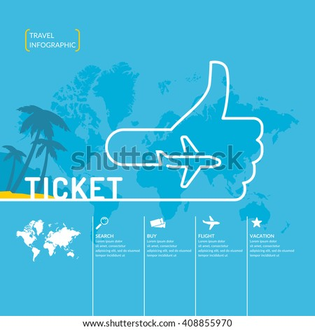 Travel infographics. Buy air tickets.Vector illustration. Poster for sale of trips and tours. - stock vector