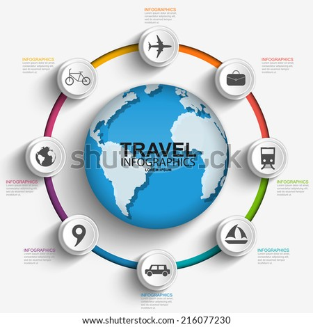 Travel infographics design template - stock vector