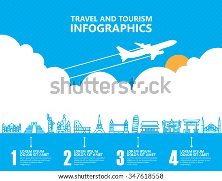 Travel infographics, landmark and transport