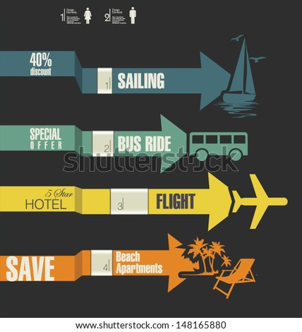 Travel infographics options banner with arrows - stock vector