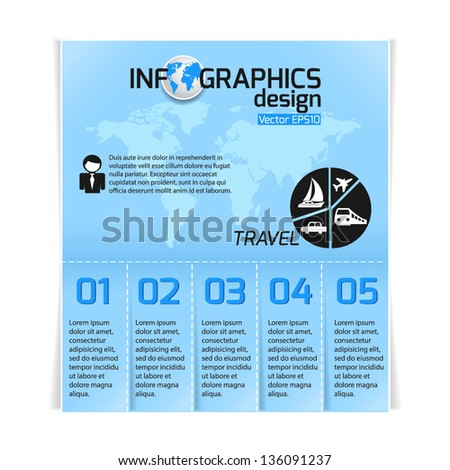 Travel infographics web design. Modern paper template. Numbered options. Vector illustration