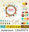 Travel infographics with data icons and elements - stock photo
