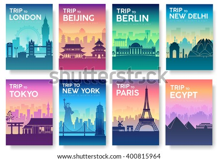 Travel of the world brochure with typography set. England country icon. England country. India country. Germany country. China country. Japan country. Usa country. France country. City landscape - stock vector