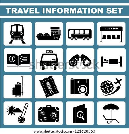 travel information set, icon set, vector - stock vector