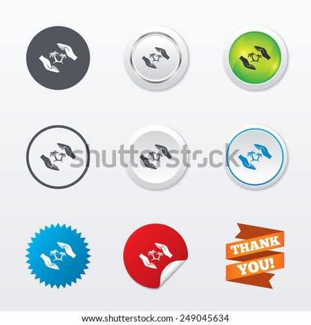 Travel insurance sign icon. Hands protect cover palm tree symbol. Trip vacation insurance. Circle concept buttons. Metal edging. Star and label sticker. Vector