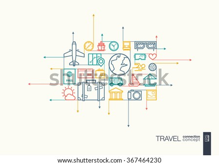 Travel integrated thin line symbols. Motion arrows vector concept, with connected flat design icons. Abstract background illustration for tourism, holiday, trip, summer, vacation concepts.  - stock vector